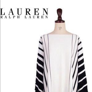Ralph Lauren Black White Cotton Modal Poncho